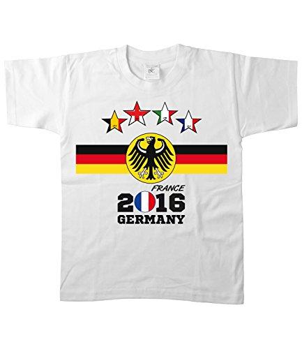 Artdiktat - EM 2016 Vier Sterne Deutschland Fan T- Shirt für Damen Herren Kinder und Babys - Trikot Ersatz - inkl. Wunschname und Nummer EM 2016 Vier Sterne Frankreich Kinder Größe 122/128, weiß
