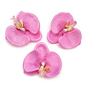 Fake Flower Heads in Bulk Wholesale for Crafts Artificial Flowers Silk Butterfly Orchid Head for Wedding Home Decoration DIY Party Festival Decor Flores Cymbidium Handmade 20pcs 8cm