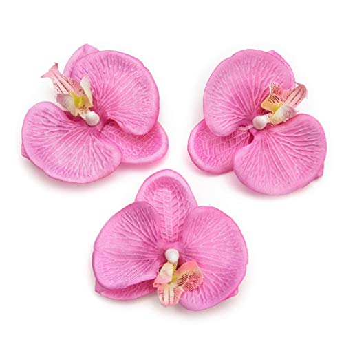 Fake Flower Heads in Bulk Wholesale for Crafts Artificial Flowers Silk Butterfly Orchid Head for Wedding Home Decoration DIY Party Festival Decor Flores Cymbidium Handmade 20pcs 8cm (Dark Pink)