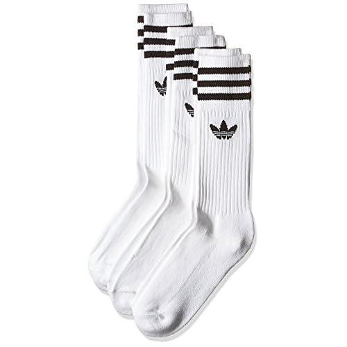 Adidas Solid Crew 3 Pezzi Calze, Uomo, Bianco (White/Black), 35-38