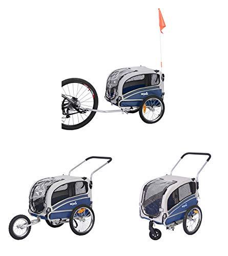 Sepnine & Leonpets 2 in1 pet Dog Bike Trailer Bicycle Trailer and Stroller Jogger 20303 (Blue/Grey)