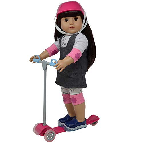 """The New York Doll Collection 18"""" Doll Scooter & Helmet Set - 18in Dolls Accessories Doll Bike Accessories Play Set and Doll Helmet, E177-N"""