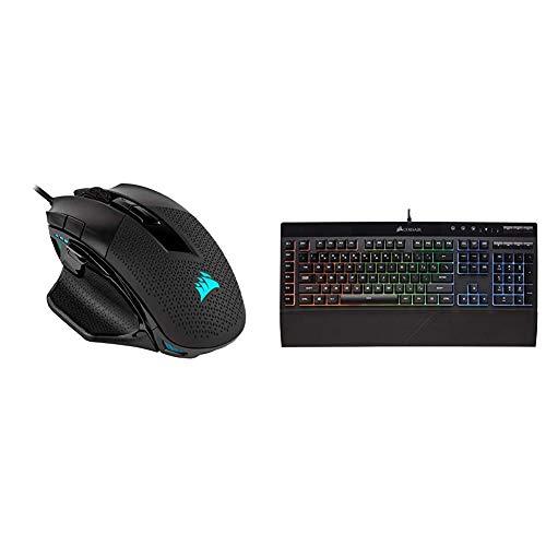 Corsair Nightsword RGB - Optical Ergonomic Gaming Mouse, Black & K55 RGB Gaming Keyboard – IP42 Dust and Water Resistance – 6 Programmable Macro Keys – Dedicated Media Keys