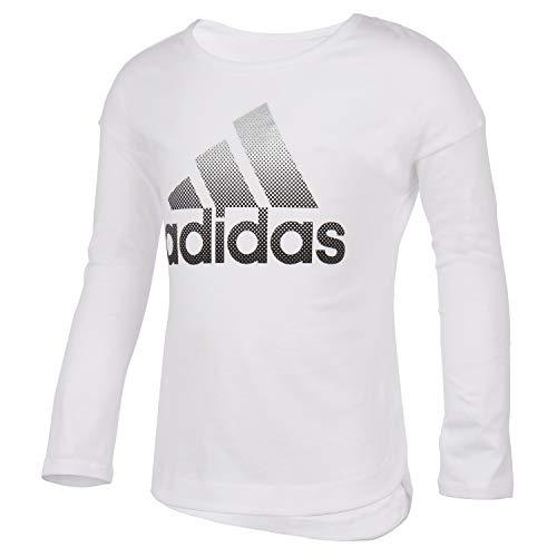 adidas Girls' Long Sleeve Side Slit Tee T-Shirt, BoS White, 6