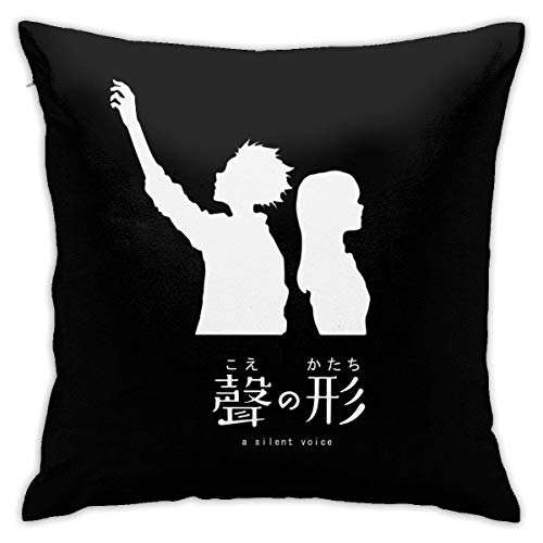 RIUARA Koe No Katachi Silent Voice Throw Pillow Cover Home Decor Soft Square Throw Pillow Case for Bed Couch Sofa Farmhouse Cushion Case Both Sides 18'X18'-Made in USA