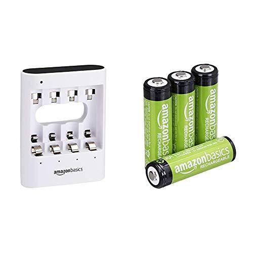 AmazonBasics - Caricabatterie USB rapido, bianco & Batterie AA ricaricabili, pre-caricate, confezione da 4 (l'aspetto potrebbe variare dall'immagine)