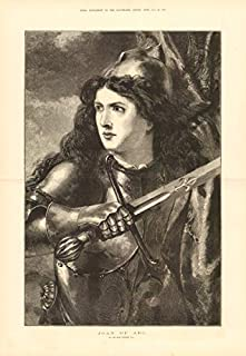 Joan of Arc, by Sir John Gilbert. France. Armour. Sword - 1876 - Old Antique Vintage Print - Art Picture Prints of France