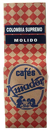 Cafés AMADOR - Café MOLIDO FINO Natural Arábica - COLOMBIA HUILA SUPREMO (Molienda para Cafetera Italiana / Espresso) (2x250g) 500g