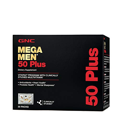 GNC Mega Men 50 Plus Vitapak, 30 Packs, Support Heart and Prostate Health and Promotes Mental Sharpness