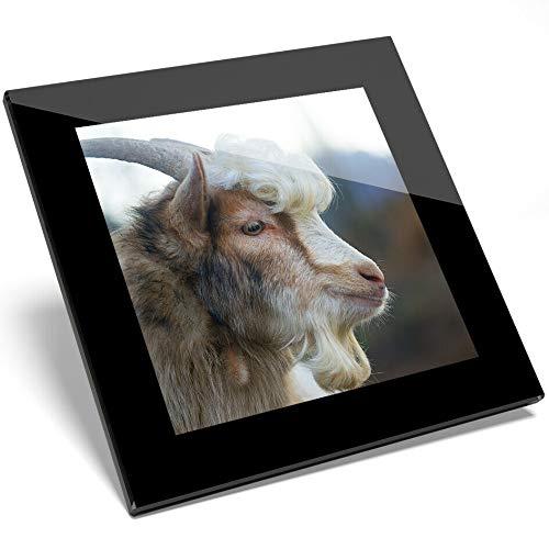 1 posavasos de cristal de pelo rizado con diseño de cabra salvaje - Regalo para estudiantes de cocina #12552