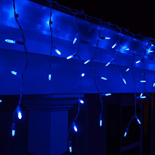 70 M5 LED Blue Icicle Lights Outdoor Colored Icicle Lights, 7' on White Wire, Blue Icicle Christmas Lights Mini Icicle Lights LED Holiday Icicle Lights (M5 Lights, Blue)