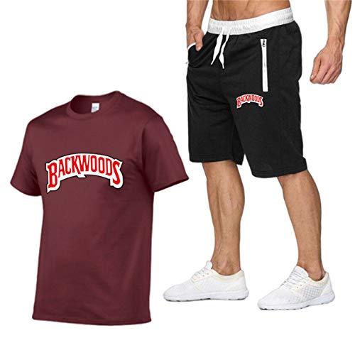 GIRLXV Traje Deportivo para Hombre Pantalones Cortos con Cremallera Camisa Deportiva Muscular Camiseta De Manga Corta Camiseta Informal Backwoods XXL