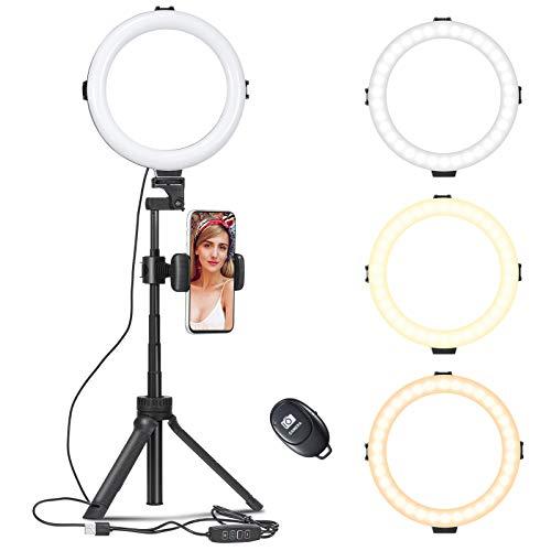 Ringleuchte, LED Ringlicht mit Stativ und Telefonhalter, Farbtemperatur und Helligkeit Einstellbar für Tiktok, YouTube, Live-Stream, Make-up