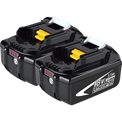 Kengdor 2X BL1860B 18V 5.5Ah Ersatz für Makita Akku BL1860 BL1850B BL1850 BL1840B BL1840 BL1830 BL1835 BL1845 194204-5 LXT-400 Batterie-Elektrowerkzeuge mit LED-Anzeige