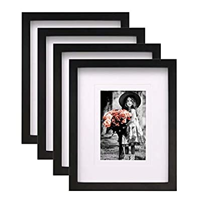 KINLINK 8x10 Picture Frames Black, Wood Frames with HD Plexiglass for Pictures 4x6/5x7 with Mat or 8x10 Without Mat, Tabletop and Wall Mounting Display, Set of 4