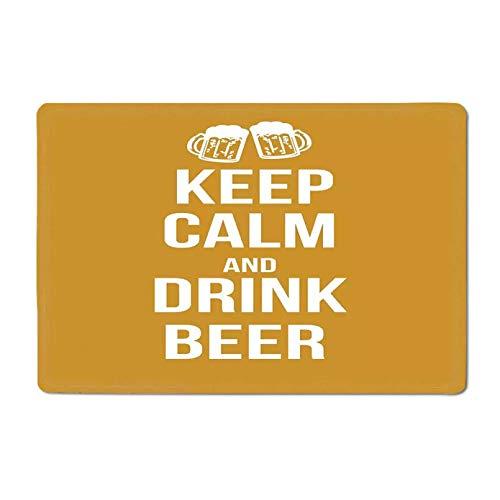 3D gedruckte Türmatte Halten Sie ruhig Badematte Trinken Bier Poster Design Grafik Schaumstoff Brille Freizeit Spaß Pub Print Outdoor Matte Amber White Geschenk-40x60cm