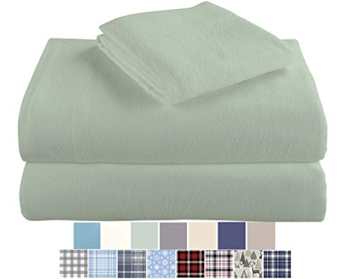 Morgan Home Cotton Turkish Flannel Sheets 100% Brushed Cotton for Supreme Comfort - Deep Pockets - Warm and Cozy, Great for All Seasons (Sage, Queen)