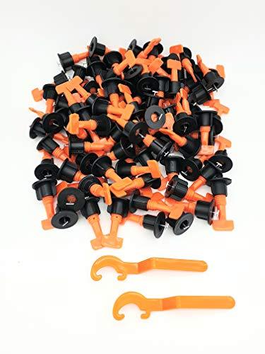 100 unidades Sistema de nivelación de baldosas, sistema de nivelación de baldosas, reutilizable Spacer + llave especial