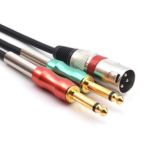 """SiYear XLR 3 pin maschio a doppio 6.35mm 1/4"""" maschio Y splitter cavo Y, doppio mono maschio (1/4 di pollice) 6.35mm a XLR spina maschio microfono stereo convertitore adattatore audio cavo (1m)"""