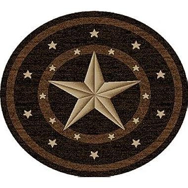 Dean Western Star Lodge Cabin Ranch Area Rug 7'10  (8') Round