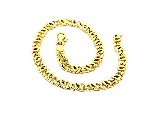 Bracciale Oro Giallo 18kt (750) Maglia Tigre Cm 19,50 Uomo Donna