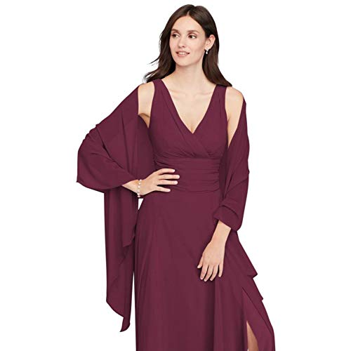 David's Bridal Sheer Chiffon Wrap Style OW2129, Wine