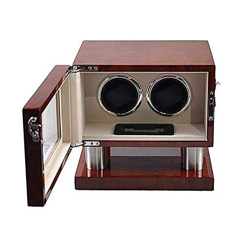 AMAFS 2 Relojes de Madera, con Motor silencioso y Pantalla Digital LCD, Caja de Cuerda automática Pintura de Piano Festival