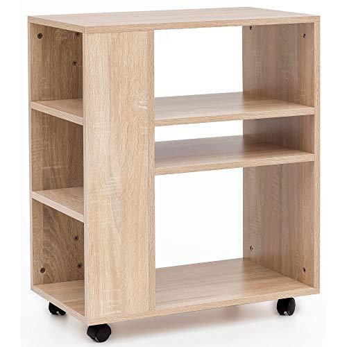 FineBuy Regal 60x35x75 cm Sonoma Regalwagen mit Rollen Holz | Schmales Küchen-Regal | Telefontisch Rollwagen Modern | Bücher-Regal schmal Standcontainer Hoch
