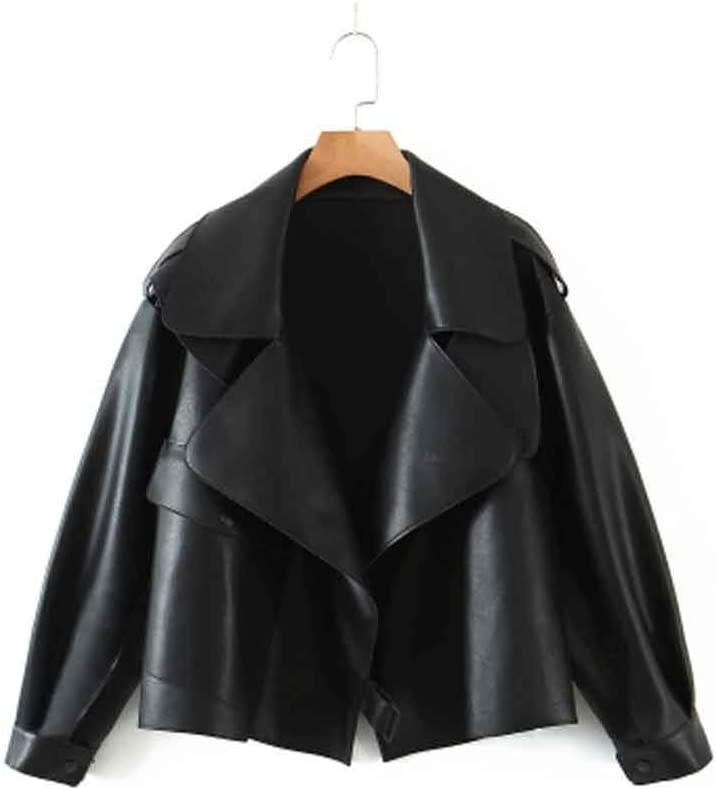 UXZDX Spring and Autumn Trendy Long-Sleeved Lapel Solid Color Women's PU Leather Jacket Jacket (Size : Large Size)