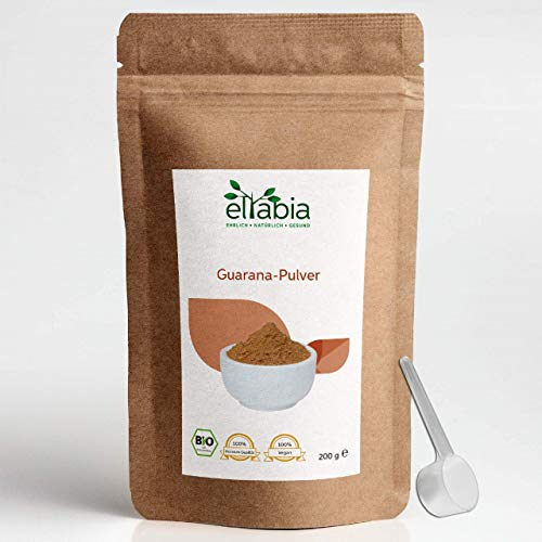 Eltabia Poudre de Guarana biologique 200g issu de l'agriculture biologique contrôlée, caféine 100% pure et naturelle