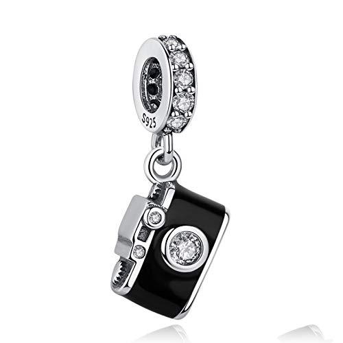 LILIANG Charm Jewelry Auténtica Cuenta De Plata De Ley 925 Esmalte Negro Cámara Colgante Charm Fit Pulseras Originales Colgante DIY Jewelry