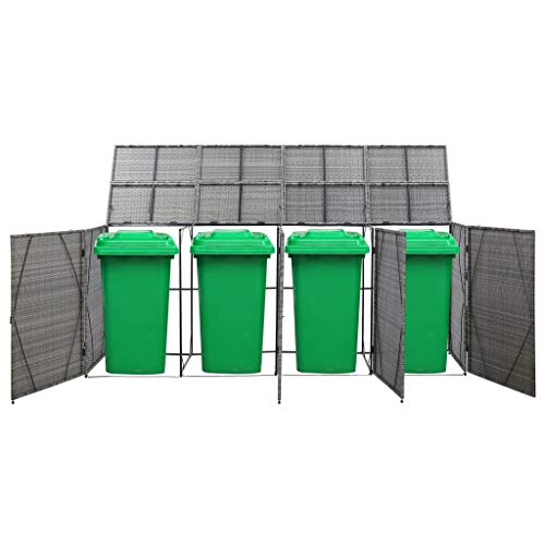Canditree Outdoor Large Storage Shed for Garbage Cans, Garden Tools, Bin Shed Poly Rattan for Patio Backyard (Anthracite)