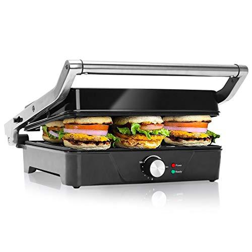 Aigostar Samson 30KLU – Grill, parrilla, panini, 2000W, sandwichera con tapa flotante. placas antiadherentes grandes 29,5 x 23,5 cm, apertura 180 °, control temperatura, libre de BPA.