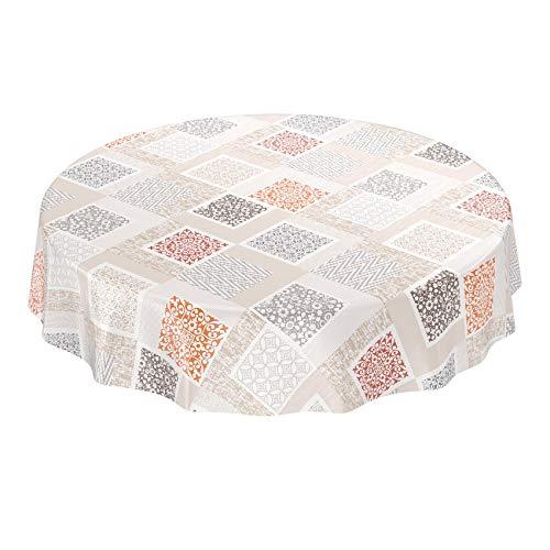Anro - Mantel de hule, diseño de patchwork, plástico, Beige y marrón claro., Rund 120cm
