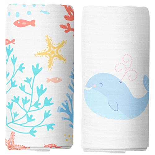 Cheekie Monkie 100% Cotton Muslin Baby Newborn Infant Swaddle Wrap Blanket/Receiving Blanket Set - Gender Neutral Watercolor Coral and Whale Print 2-Pack