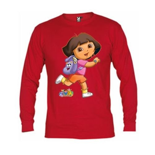 Mx Games Camiseta Dora Exploradora roja Manga Larga (Talla: 3-4 años, Color: Rojo)