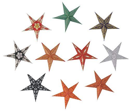 Guru-Shop 10 Stk. Stern Lichterkette, Papier Ministern 20 cm, 10er Set, Faltbar - Multicolour, Papiersterne 20 cm für Lichterketten
