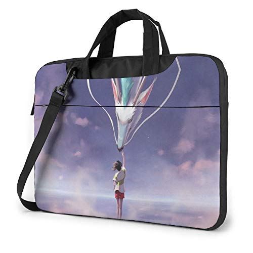 14 inch Laptop Sleeve Bag, Spirited Away Tablet Briefcase Ultra Portable Protective Shoulder Shockproof Laptop Canvas Cover MacBook Air