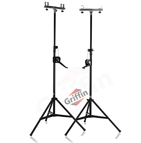 Crank Up Light Trussing Stands by Griffin | T Adapter DJ Truss System for Lighting Cans & Speakers | Pro-Audio Stage Hardware Mounting Package | Portable PA Equipment Gear Holder for Live Music Gigs