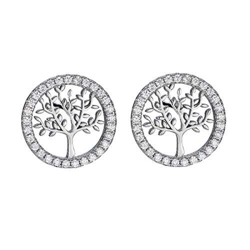 Yolistar Plata de Ley 925 Árbol de La Vida Cristales Pendientes, Regalo de Tachuelas para Mujeres Niñas Damas Con Hermoso Paquete