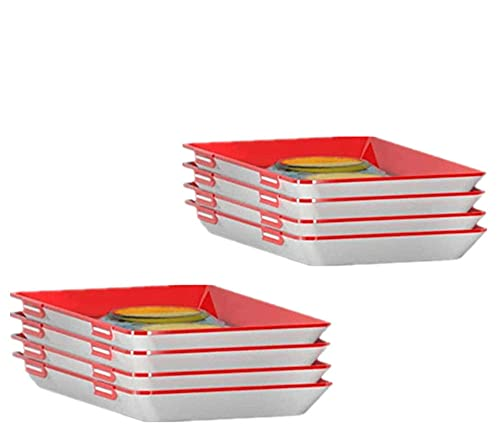 Amini Frischhaltebox Frischhaltedosen für Wurst Creative Food Preservation Tray Vakuum Frische Aufbewahrung Tablett Mit Elastischen Film Schnalle Dichtung Vorratsbehälter Set Küchenhelfer (8pcs)