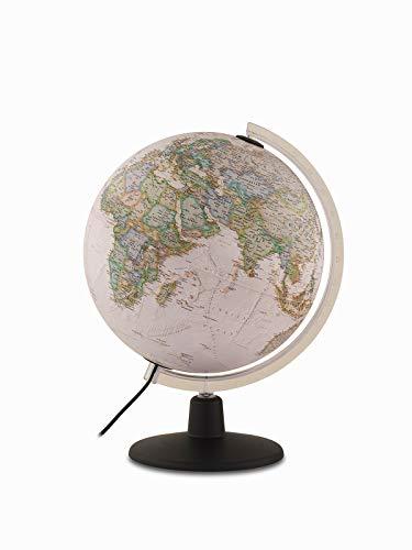 Tecnodidattica NATGEO Executive Globe | beleuchtet und drehend | Politische und physische Kartographie im Vintage National Geographic Stil | Text in Englisch | 30 cm Durchmesser