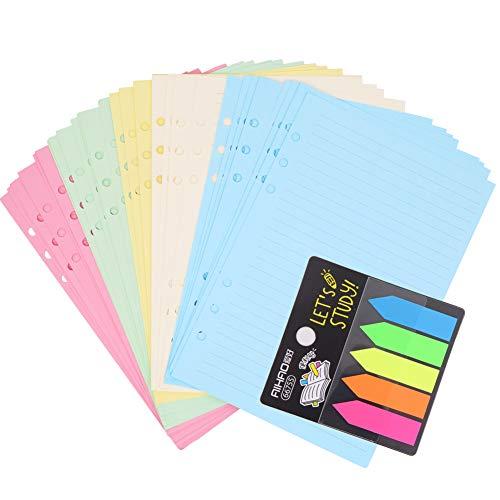 100 Blatt farbiges A5-Nachfüllpapier, 6 gelochte Löcher, 21 x 14,2 cm, Notizpapier, lose Blätter, nachfüllbar, liniertes Papier und 100 Stück Haftnotizen, Klebezettel für Notizen, Meetings und Reisen.