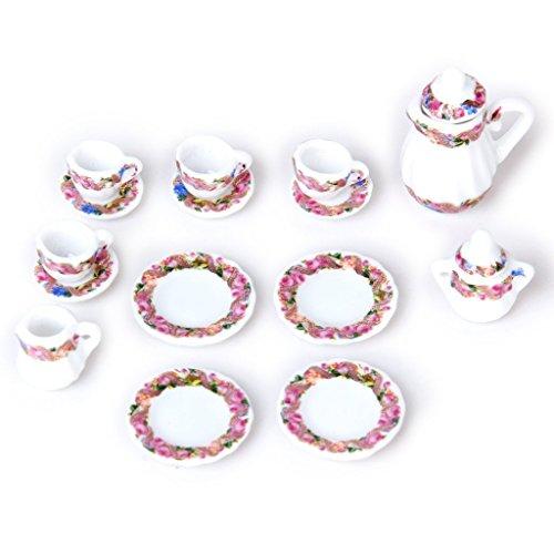Summerwindy 15pcs de Juego de Plato de te de de Porcelana en Miniatura de Casa de muneca Te de de Porcelana + Taza + Plato- Estampado Floral Colorido