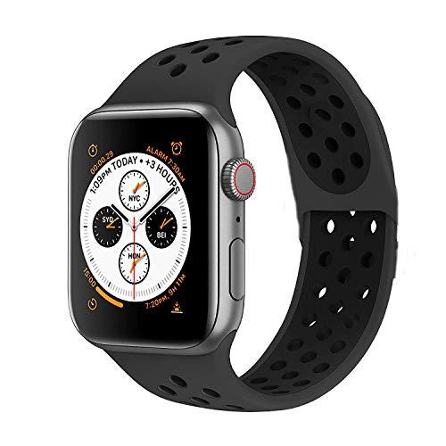 VIKATech Compatible Cinturino per Apple Watch Cinturino 44mm 42mm, Due Colori Morbido Silicone Traspirante Cinturini Sportiva di Ricambio per iWatch Series 5/4/3/2/1, M/L, Obsidian/Nero