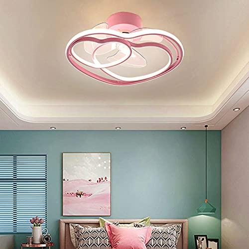 LED Ventilador de Techo con Luz y Mando a Distancia Regulable Plafón Lámpara Rosa Creativo Corazón Diseño Decorativo Plafones Dormitorio de Niñas Aluminio para Habitación Infantil VOMI