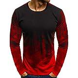 Camiseta de manga larga de los hombres de color degradado de manga corta con músculo de carne básica blusa sólida camiseta camiseta superior casual divertida camiseta sudaderas