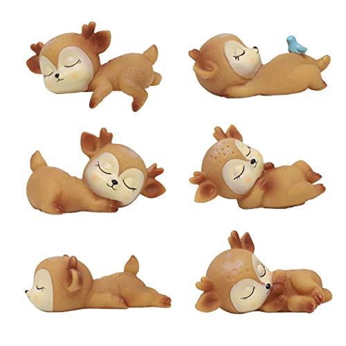 B Blesiya 6 Stücke Rehkitz Figur Dekofigur Tierfigur Tischdeko für Schlafzimmer Wohnzimmer Kinderzimmer