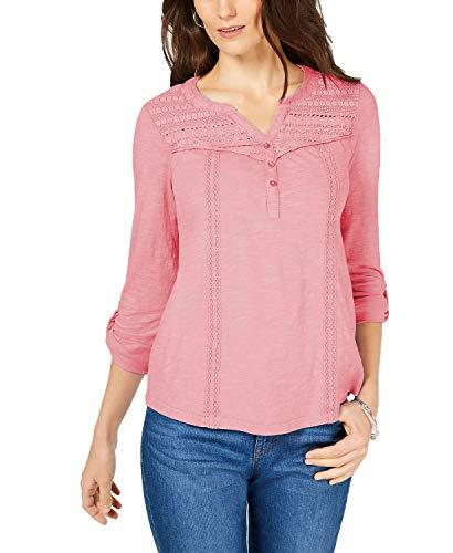 Style & Co. Women's Petite Cotton Crochet-Trim Roll-Tab Top Pink Size Medium