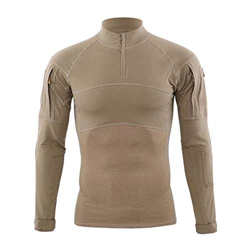 Youdong Hommes Tactiques Élasticité Séchage Rapide La Formation Col Debout Manches Longues T-Shirt Costume Tactique Homme Pull Longues Camouflage Chemises de Combat Attaque Rapide Vêtements